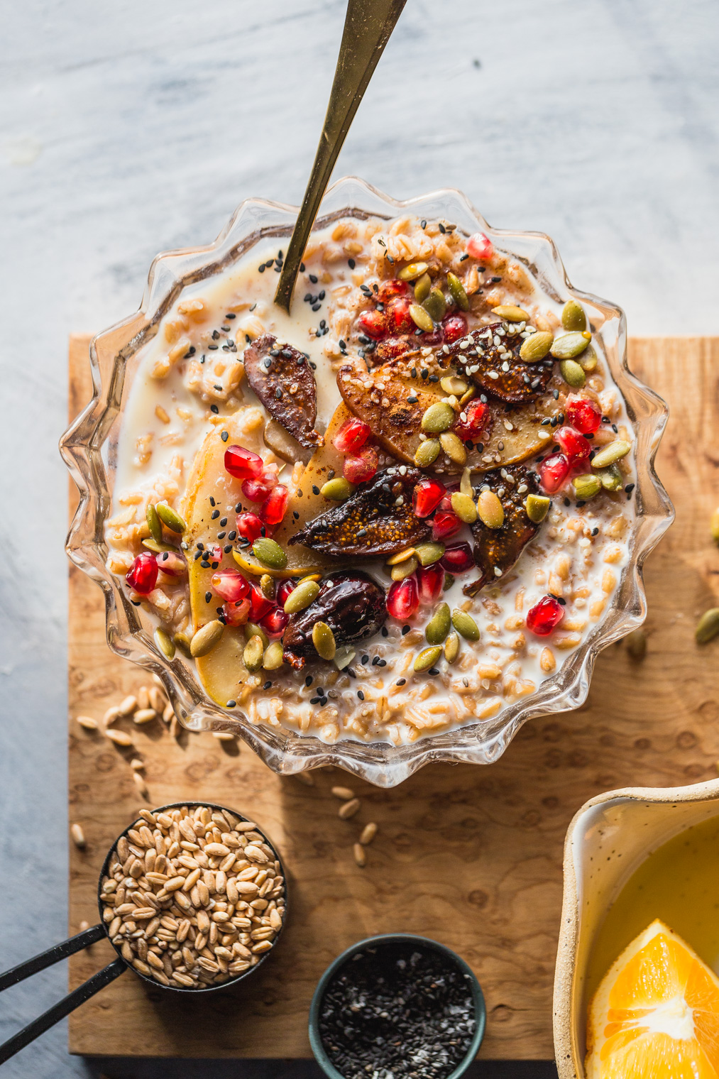 Seedy Farro Breakfast Bowl Recipe With Warmed Figs & Pears