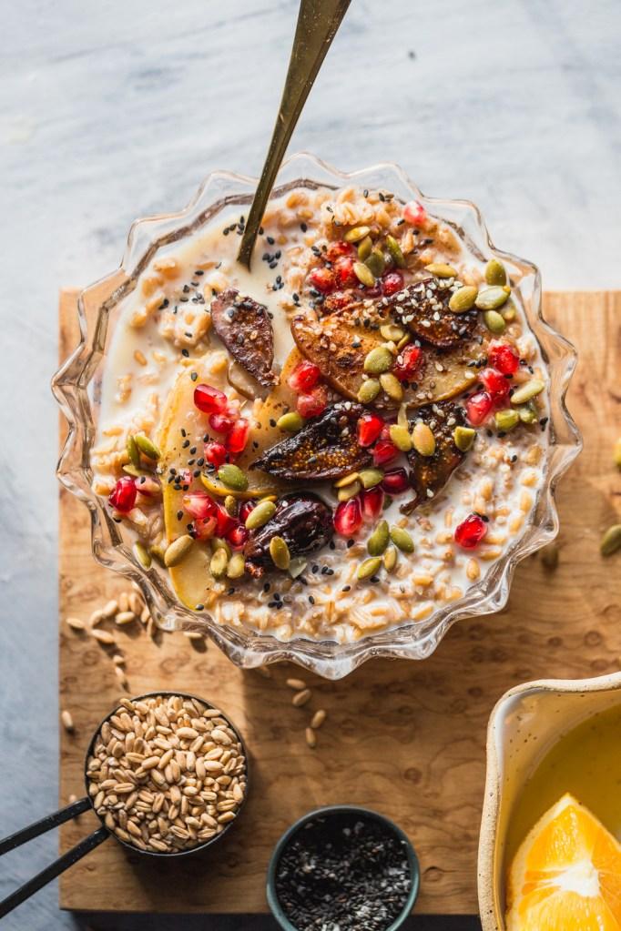 Seedy Farro Breakfast Bowl Recipe With Warmed Figs & Pears