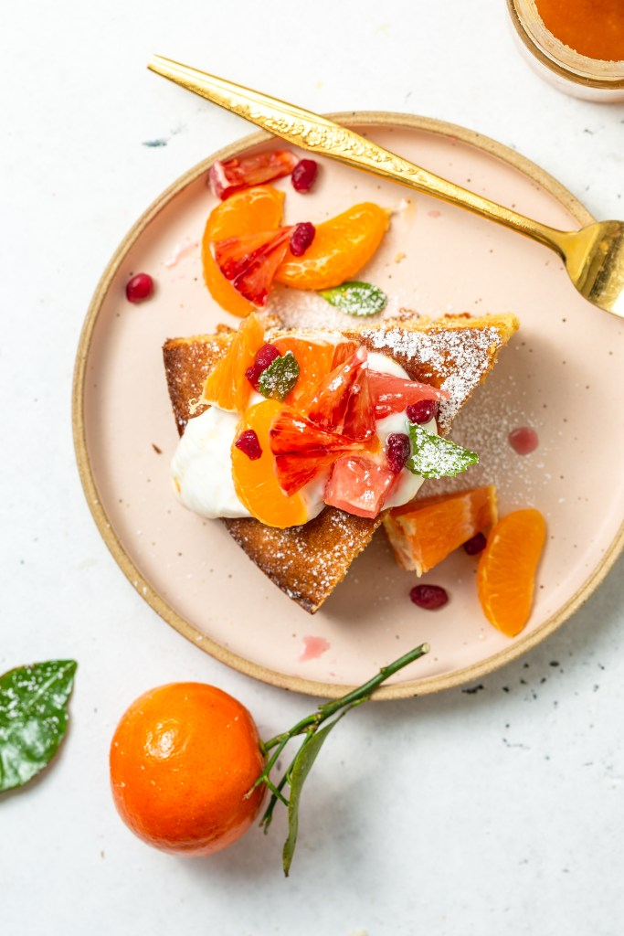 Winter Citrus Almond Cake With Yogurt & Mint