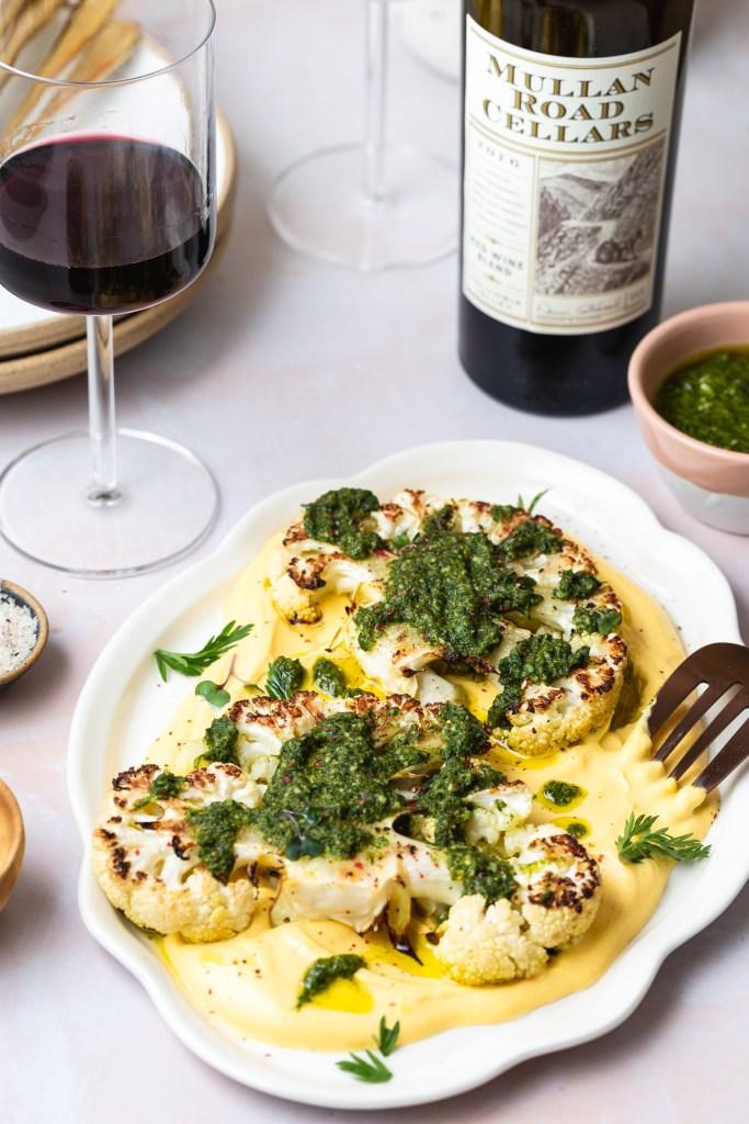 Cauliflower Steak with Carrot Miso Puree & Carrot-top Pesto