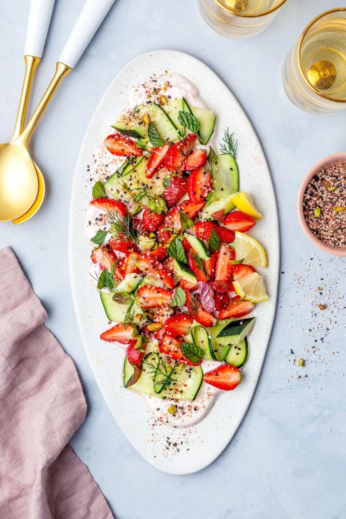 Cucumber Salad Recipe With Strawberry Yogurt & Pistachio Za'atar