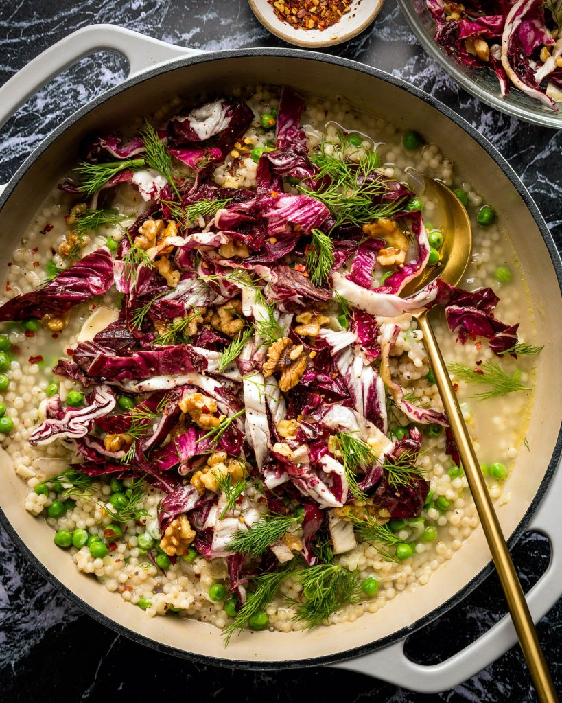 Risotto-Style Couscous with Peas, Radicchio, & Dill