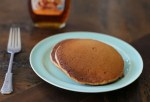gingerbread pancakes, fork, syrup