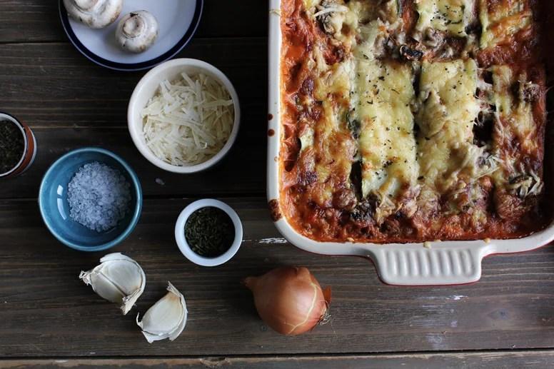 plan of lasagna with misc. ingredients