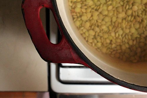 lentils cooking