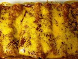 pan of spinach enchiladas