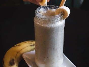 smoothie in a glass with banana