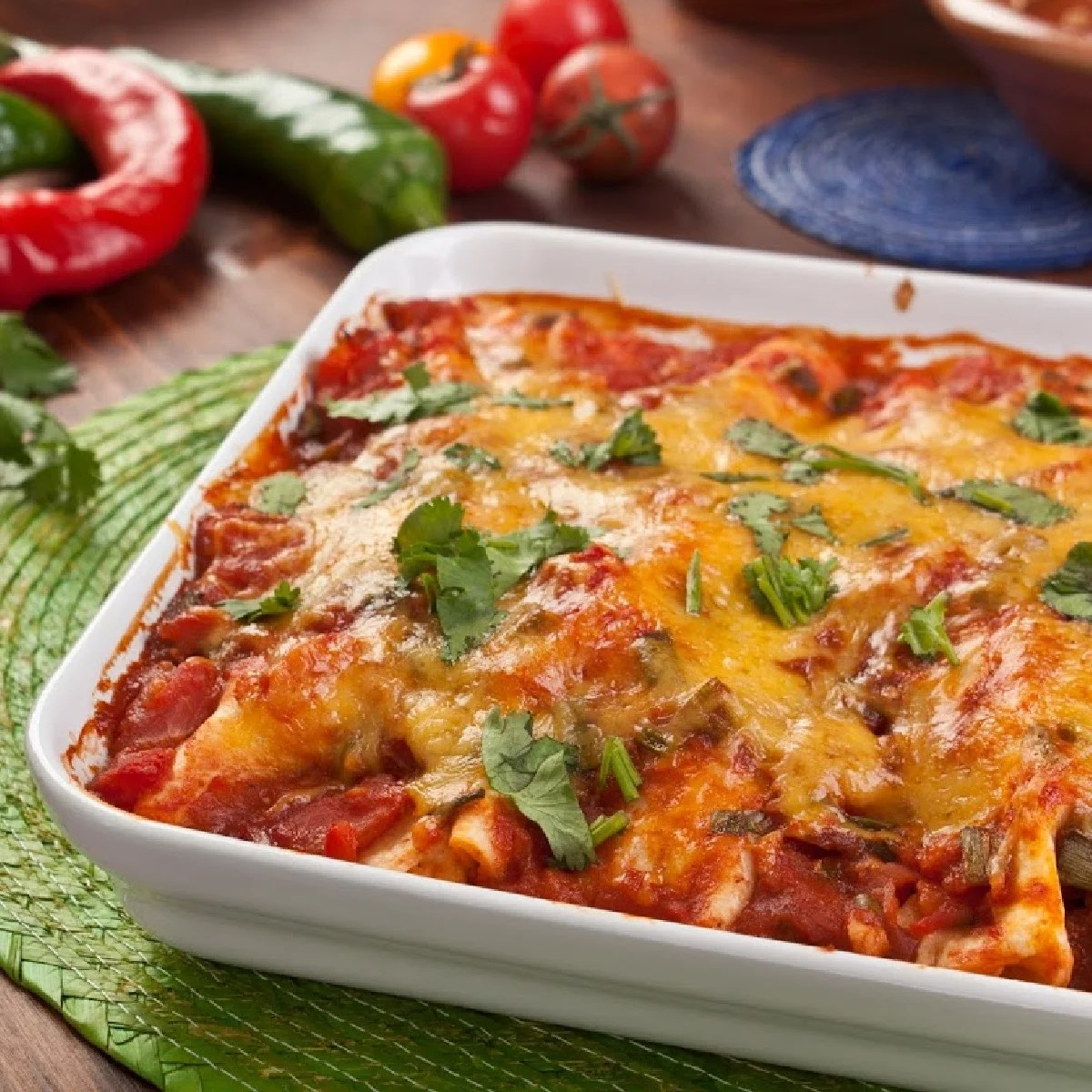 pan of vegetable enchiladas