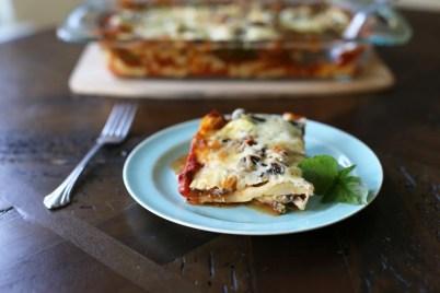 slice of vegetarian lasagna