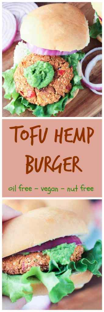 """Tofu Hemp Burger - a firm and """"meaty"""" burger that won't fall apart when you take a bite! Load it up with your favorite toppings or try it with my Herbed White Bean Spread (recipe also listed here!)."""