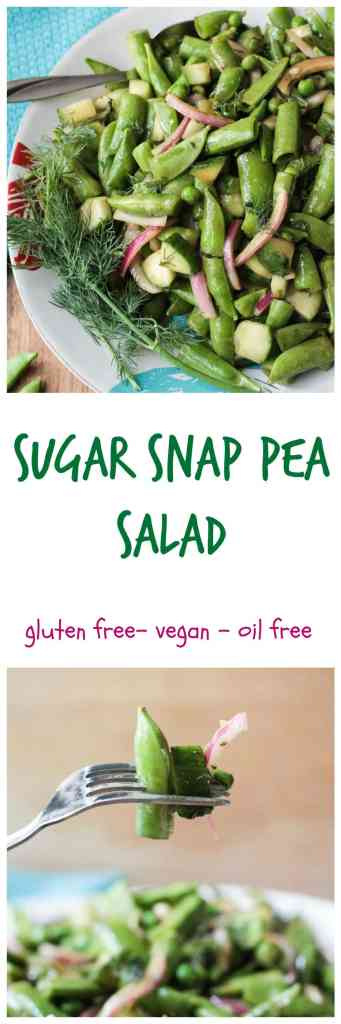 Sugar Snap Pea Salad - a crunchy addictive salad that's perfect for the summer! A light oil-free balsamic vinaigrette is mixed with the crisp raw veggies. Try it served with grilled or toasted baguette!! This recipe will easily double or triple to feed a crowd - perfect for summer BBQs or picnics!