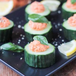 Cucumber Bites with Sun Dried Tomato Spread