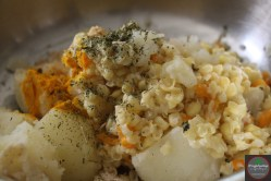 Mashed corn and spices added to the potato