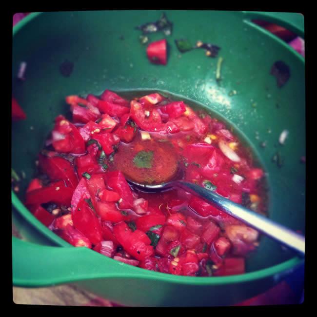 Relleno de tomate fresco y albahaca