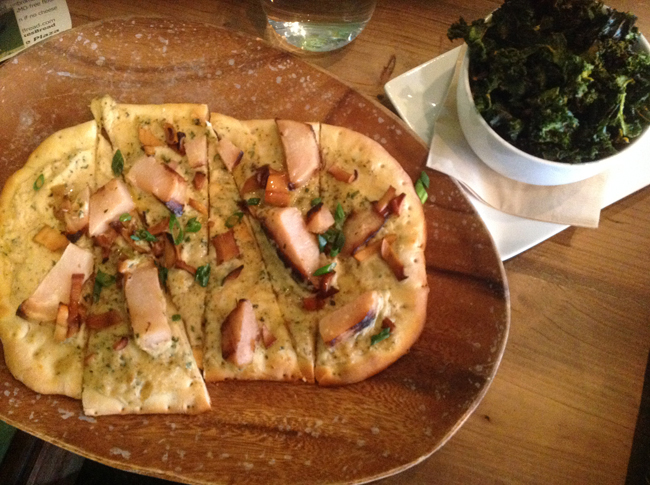 Fern Sourdough Flatbread with Turnip Scallops and Kale Chips