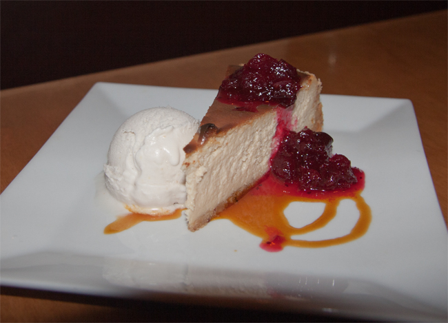 Cheesecake - Pecan Crust, Cranberry Compote, with Lemon Pine-Nut Ice Cream - $8