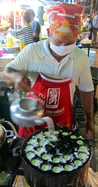 Trang Night Market Making Khanom Krok