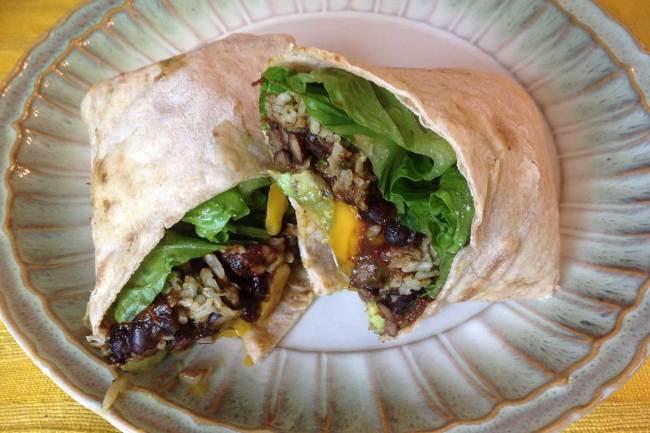 Spicy Black Bean Burrito With Lime-Cilantro Rice And Mango-Avocado Salsa