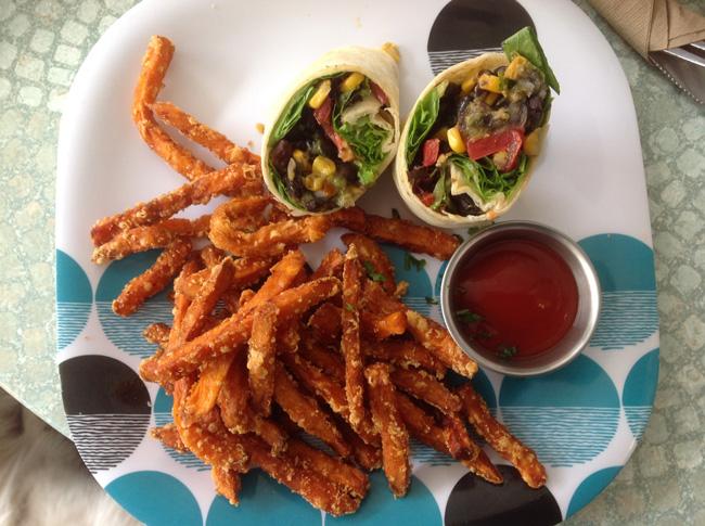 California Wrap With Sweet Potato Fries