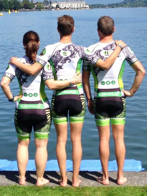 Kate Strong: 3-Some team members at swim start