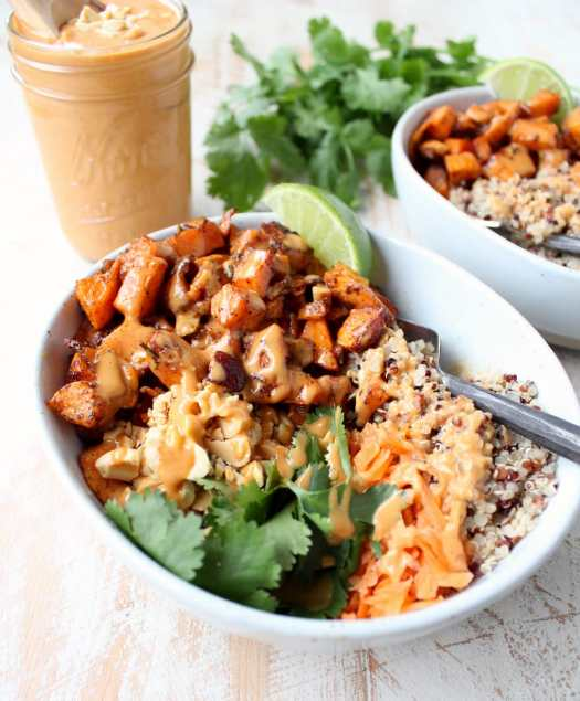 Vegan Thai Peanut Sweet Potato Buddha Bowl