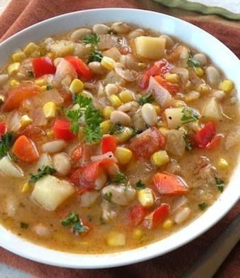 White bean and corn soup with red peppers
