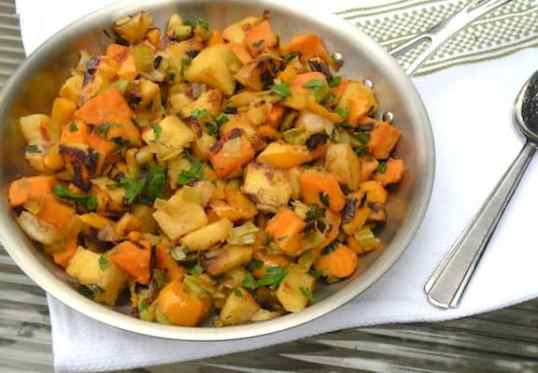 leek and bell pepper hash browns