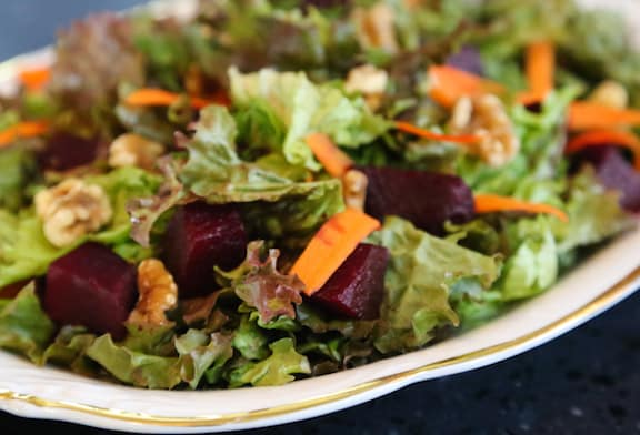 Beet and Walnut salad with mixed greens