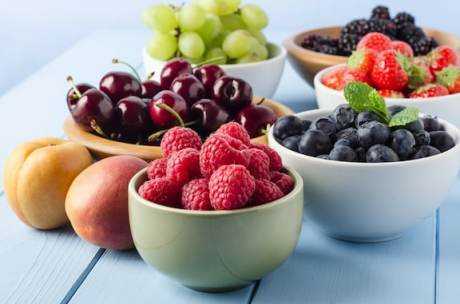 Summer fruits in bowls