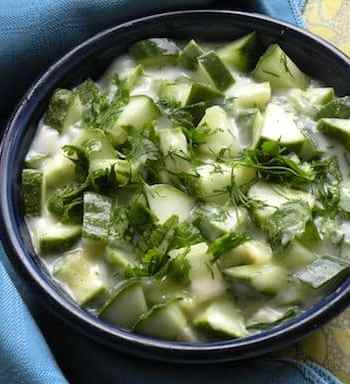 Cucumber and fresh herb relish in coconut yogurt