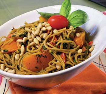 angel hair pasta with with chard and bell peppers
