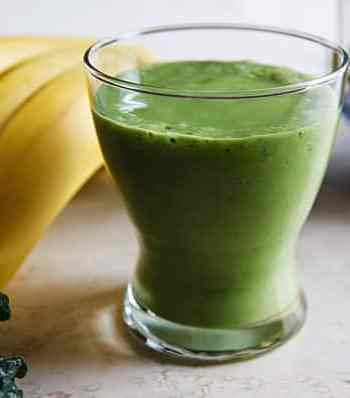 Green velvet smoothie (kale, banana, and avocado)