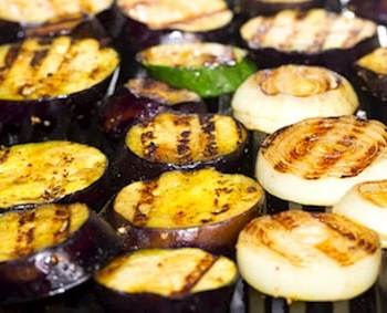 Grilled eggplant and onions