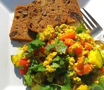 Tofu scramble with cilantro