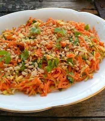 Raw sweet potato and cabbage salad