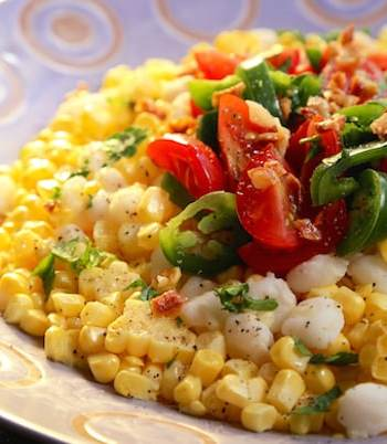 Two corn (fresh and hominy) summer salad