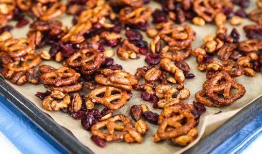 Sweet and Savory Nuts and Pretzels snack