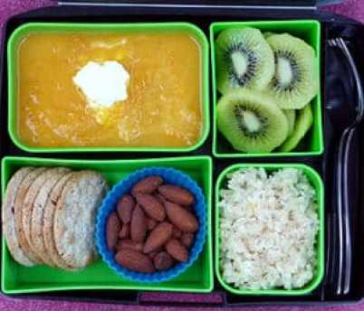 butternut squash soup in bento box lunch