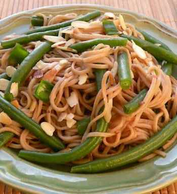 Soba Noodles with Green Beans and Almonds