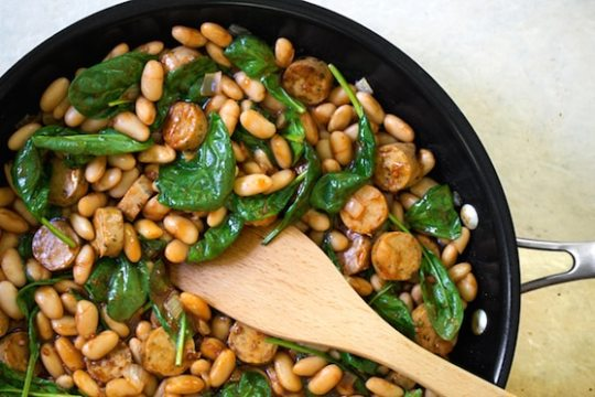 BBQ White Beans with Vegan Sausage and Spinach3