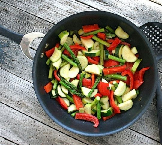 Asparagus, squash, and red bell pepper sauté