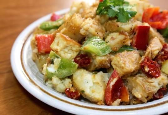 Marinated Potato and Tofu Salad with Dried Tomatoes