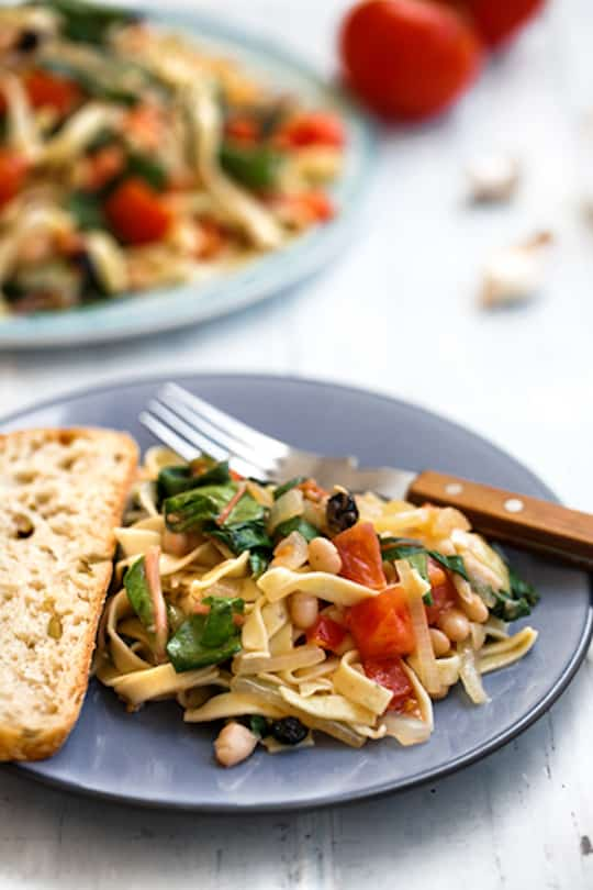 Pasta with chard, tomatoes, and white beans