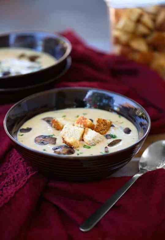 Vegan creamy mushroom soup recipe