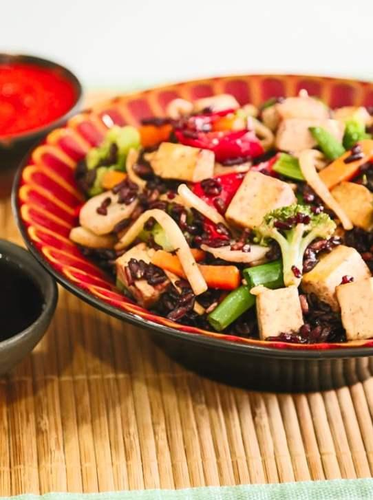 Black rice and vegetable stir-fry recipe