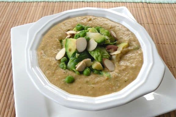 Almond Brussels sprouts soup