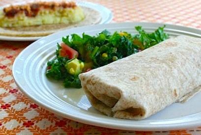 Vegan mashed potato burritos and southwestern kale salad