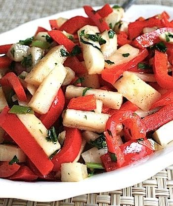 Red bell pepper sauté with turnips