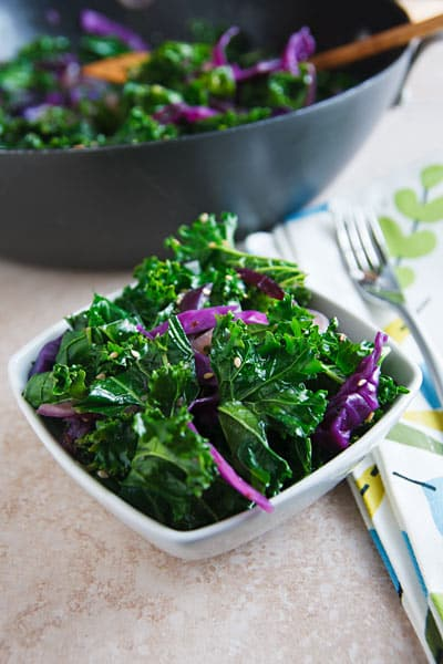 Stir-fried sesame kale and red cabbage