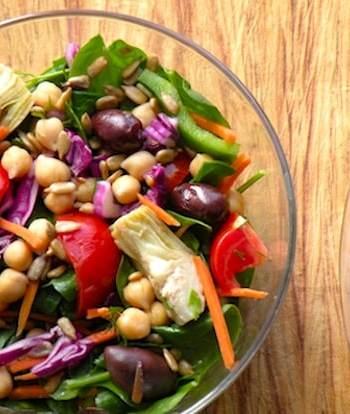 Spinach, chickpea, and artichoke salad